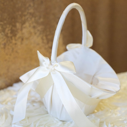 Large Satin Flower Girl Basket - Ivory