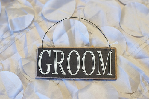 groom hanging chair sign black ivory