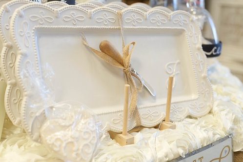 initial platter white wedding gift