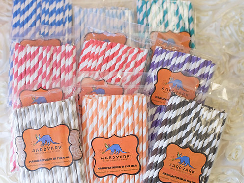 50 Striped Paper Straws