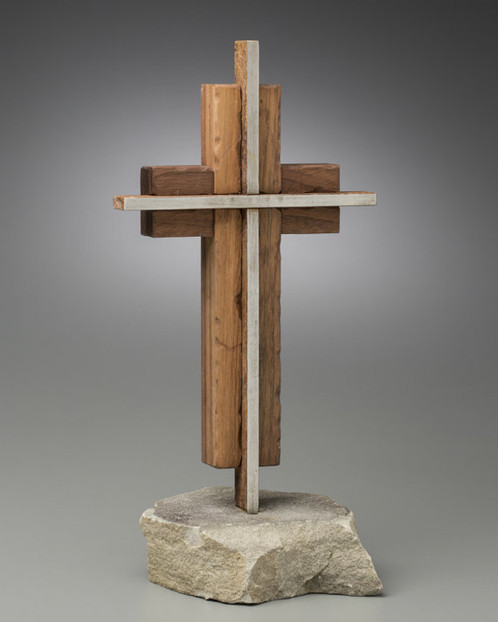 The Unity Cross -Steel & Weathered Solid Black Walnut