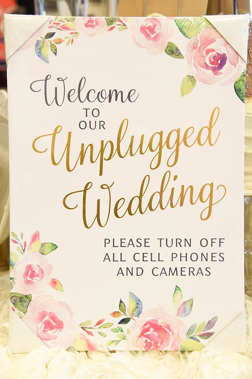 watercolor wedding sign, pink and gold wedding, unplugged wedding sign, welcome to our unplugged wedding