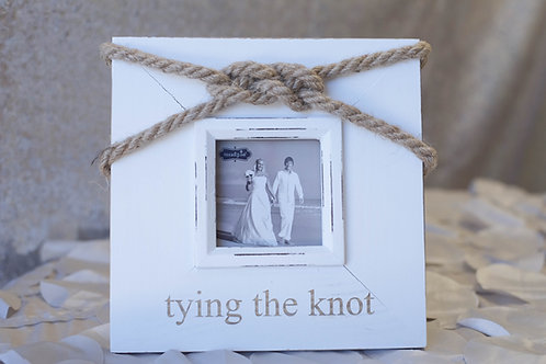 tying the knot beach wedding picture frame