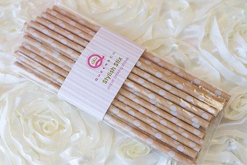 25 White Polka Dot Paper Straws