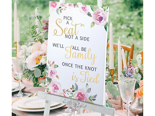 pick seat not side, wedding sign, watercolor wedding sign, floral wedding sign, pink gold wedding, gold wedding decor