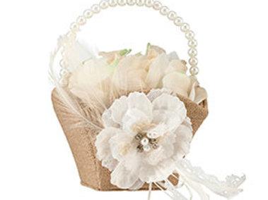 Burlap Lace Flower Girl Basket