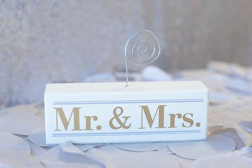 mr. mrs. gold gray ivory photo holder display