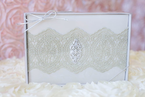 Vintage Gold Lace Ivory Wedding Guest Book
