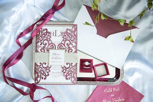 maroon and gold wedding invitation laser cut