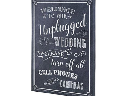 wedding chalk sign, wedding sign, wedding decor, black and white wedding, unplugged wedding sign, welcome to our unplugged