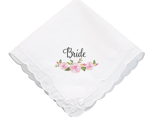 Watercolor Floral Bride Keepsake Hankie