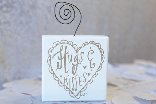white ivory gold hugs and kisses photo holder