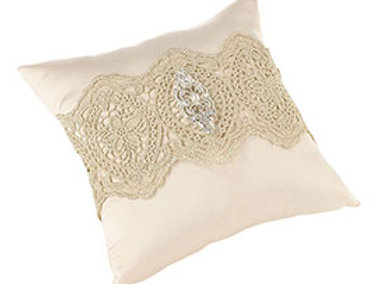 gold lace ring bearer pillow