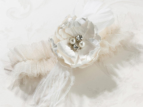 tulle rose flower wedding leg garter