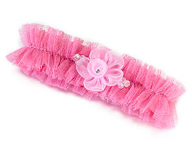 pink flower wedding leg garter