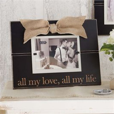all my love picture frame black burlap bow wedding gift