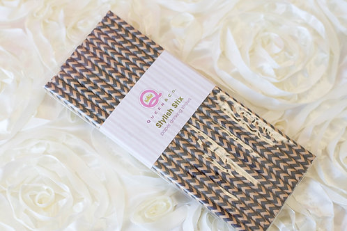 25 Black Chevron Paper Straws