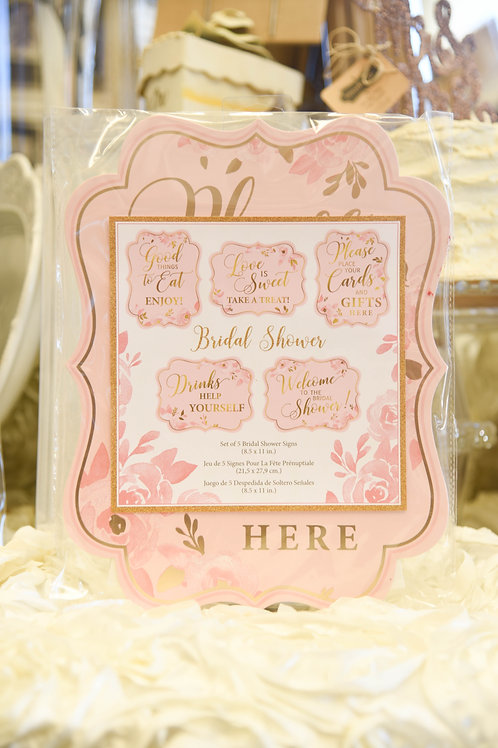 lillian rose pink wedding, wedding shower signs, wedding shower decor