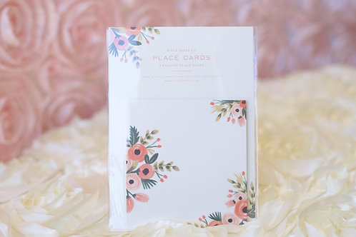 bridal shower wedding place cards white pink floral