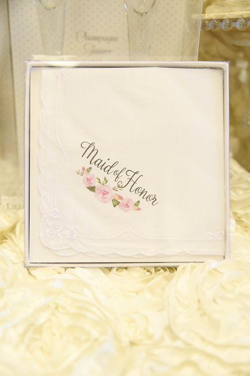 maid of honor gift, maid of honor hankie, pink wedding, bridal party gift ideas