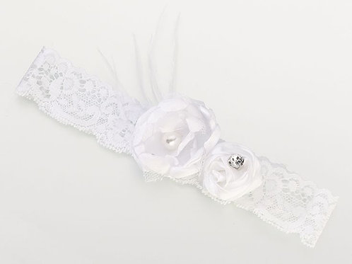white vintage lace flower wedding garter
