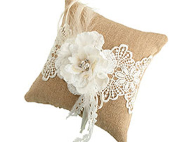 burlap lace flower ring bearer pillow