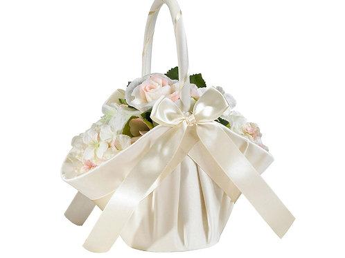 Large Satin Flower Girl Basket - Ivory