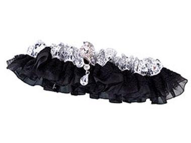 sequin satin black silver wedding leg garter