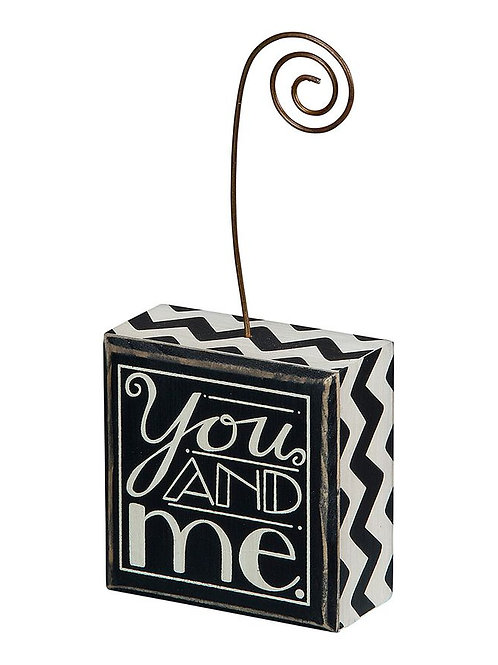 you and me, block sign, block photo holder, black and white photo holder, picture frame, wedding decor, wedding frame, decor