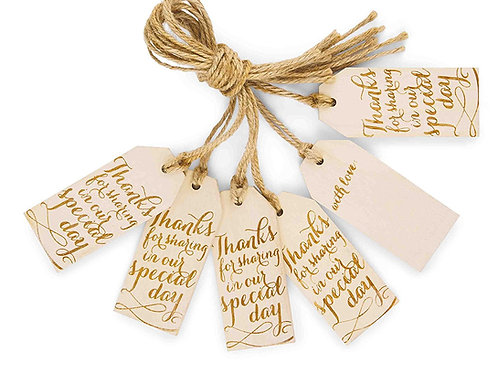 wood wedding favor thank you tags