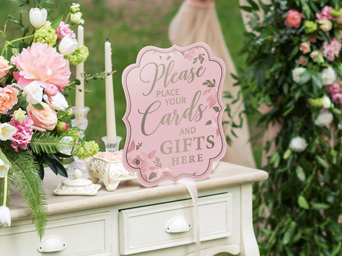 cards and gifts here, lillian rose pink wedding, wedding shower signs, wedding shower decor