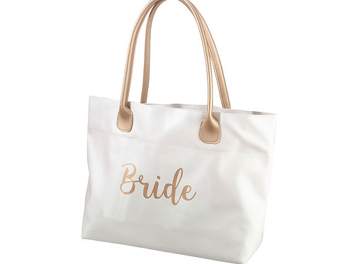 bride bag gold and white