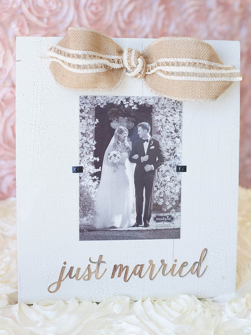 just married white picture frame burlap bow wedding gift ideas