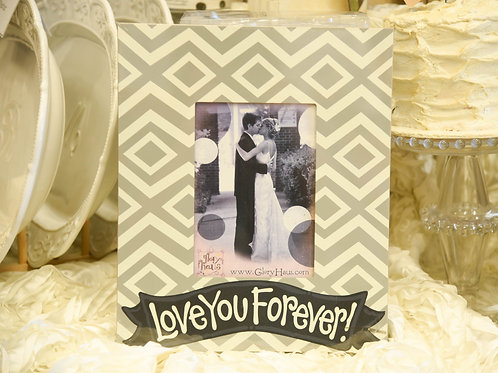 wedding frame gift white and gray wedding love you forever frame
