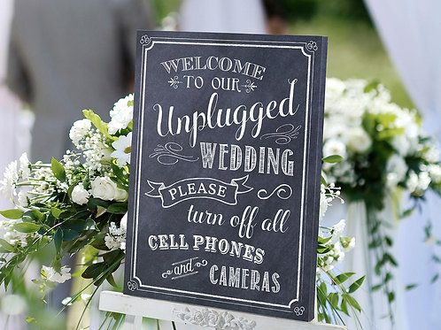 wedding chalk sign, wedding sign, wedding decor, black and white wedding, unplugged wedding sign, chalk art sign