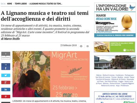 Articolo Messaggero Veneto sul MigrArt Festival 2018