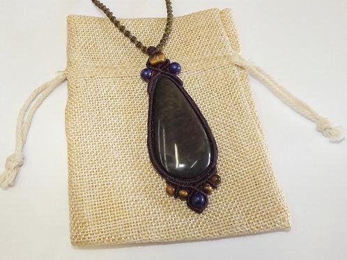 Necklace With Obsidian - Lapis Lazuli - Tiger Eye - Handmade Macrame