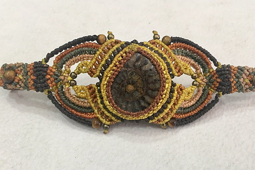 Bracelet With Ammonite- Tiger Eye - Brass (With Adjustable Slipknot)