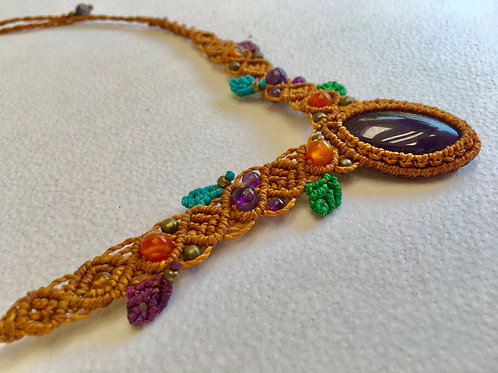 Necklace With Amethyst- Agate - Brass - Handmade Macrame (With Slipknot)