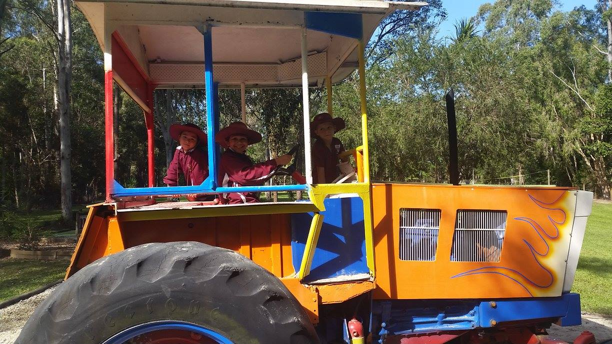 Tropical fruit world: on a tractor