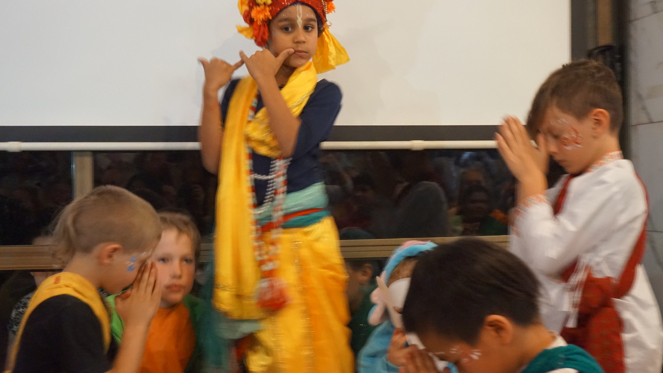 Krishna being worshipped
