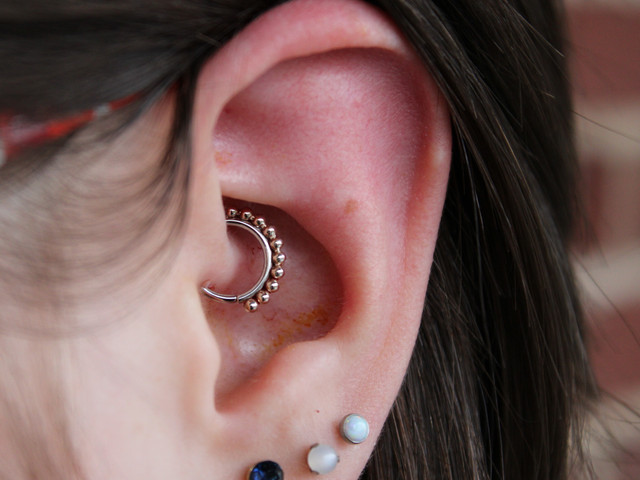 Fresh Daith & Healed Lobe Piercings
