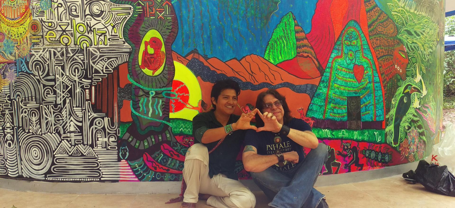 UV reactive Mural Painting at Tierra Mitica's Astronave Ayahuasca Legend Tribute in Tarapoto, Peru. With Visionary Shamanic Artist  Juan Carlos Taminchi.