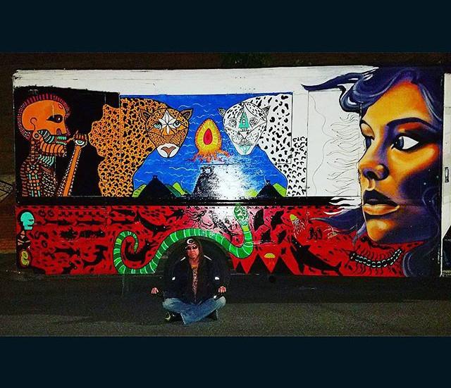 Enamel painting on Junxion Mobile DJ Truck, Brooklyn, NY in progress.