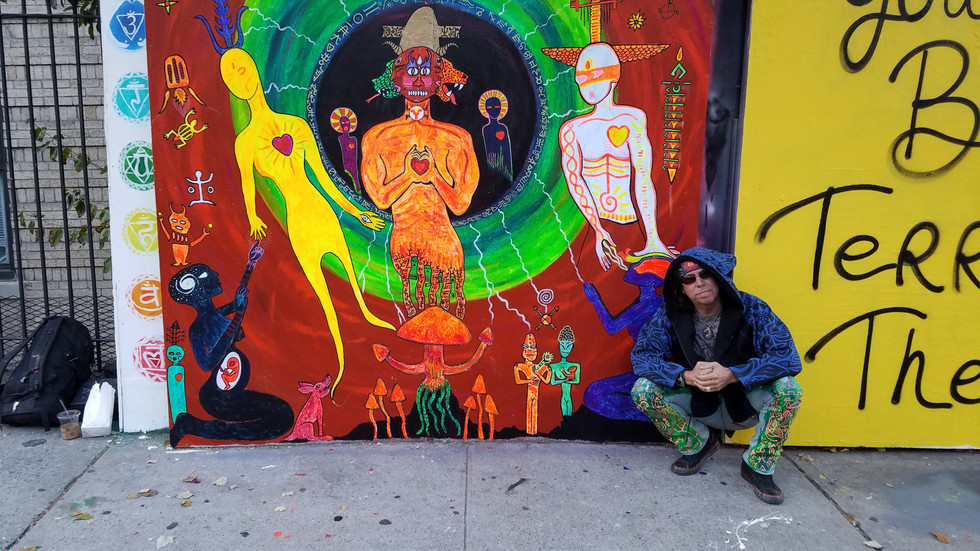 """""""Dogon, Tales from Sirius"""" 7 x 9ft mural NY's first Blacklight Street Art, at Underhill Rd and St.Johns UNderhill Walls across the street from the Brooklyn Museum curated by Jeff Beler."""