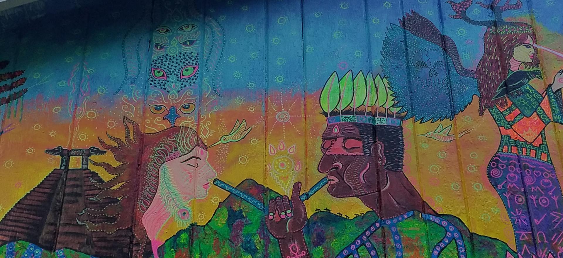 Rainbow Lodge Mural 33 x 9ft mural, UV reactive.