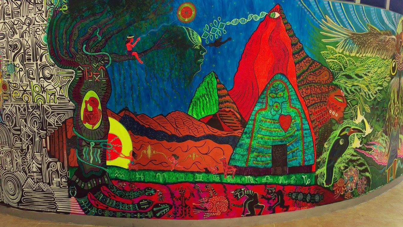 "UV reactive Mural Painting ""Daring a Sacrilege"" at Tierra Mitica's Astronave Ayahuasca Legend Tribute in Tarapoto, Peru."