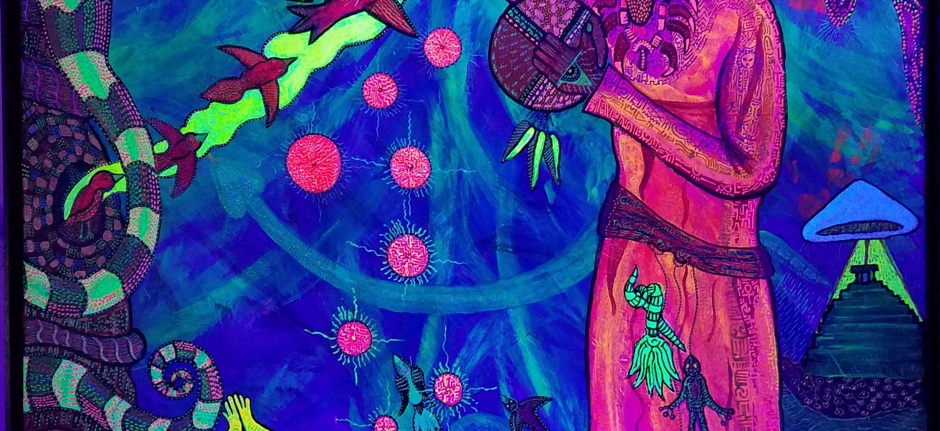 """""""Gift of the Cosmic Seed"""" 86 x 51"""" UV reactive."""