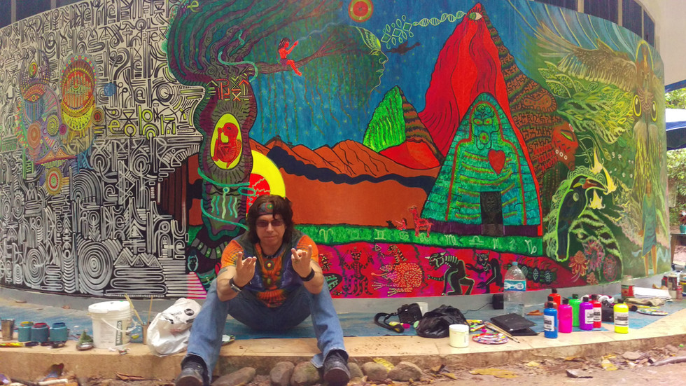 UV reactive Mural Painting at Tierra Mitica's Astronave Ayahuasca Legend Tribute in Tarapoto, Peru.