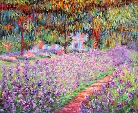 Ирисы в саду. копия Моне